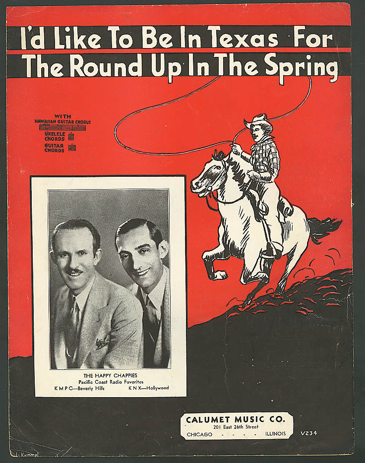 I'd Like to Be in Texas for the Round Up sheet music 1935