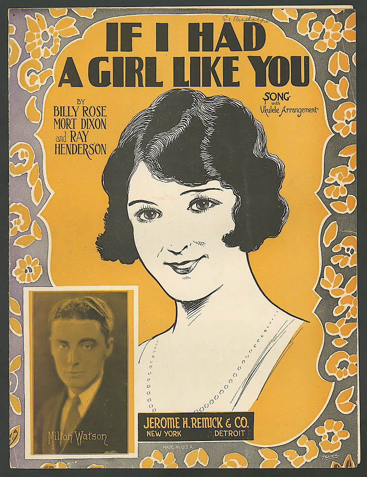If I Had a Girl Like You pretty girl sheet music 1925 Milton Watson