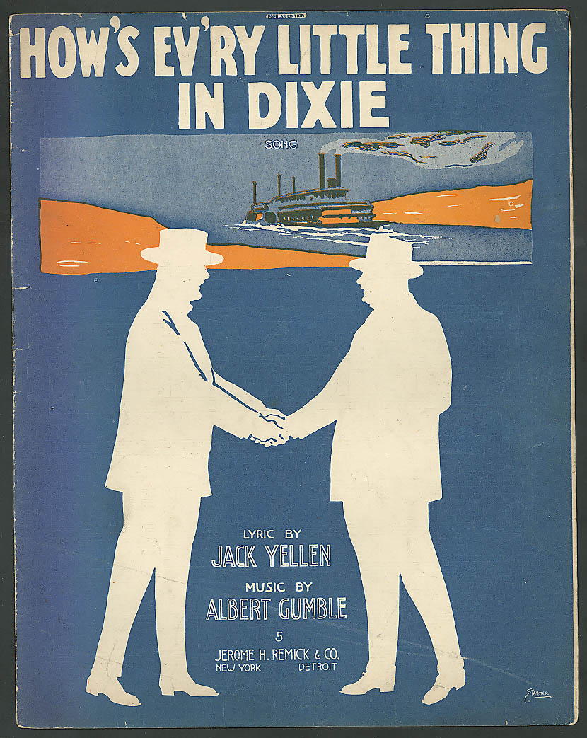 How's Ev'ry Little Thing in Dixie steamboat sheet music 1916
