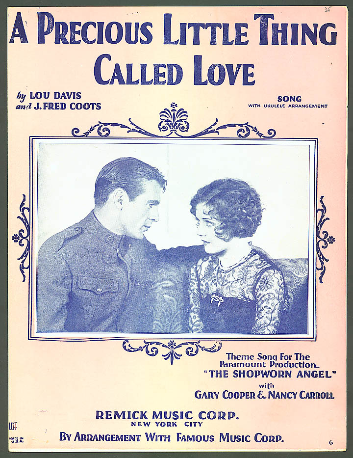 Image for Precious Little Thing Called Love Gary Cooper sheet music 1928