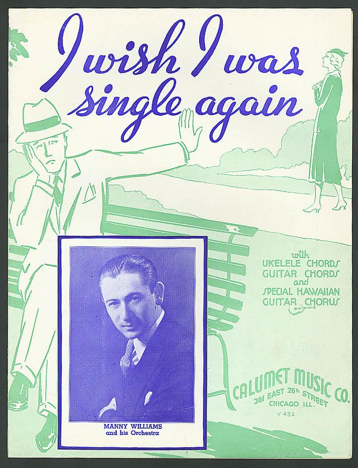 I Wish I Was Single Again sheet music 1935