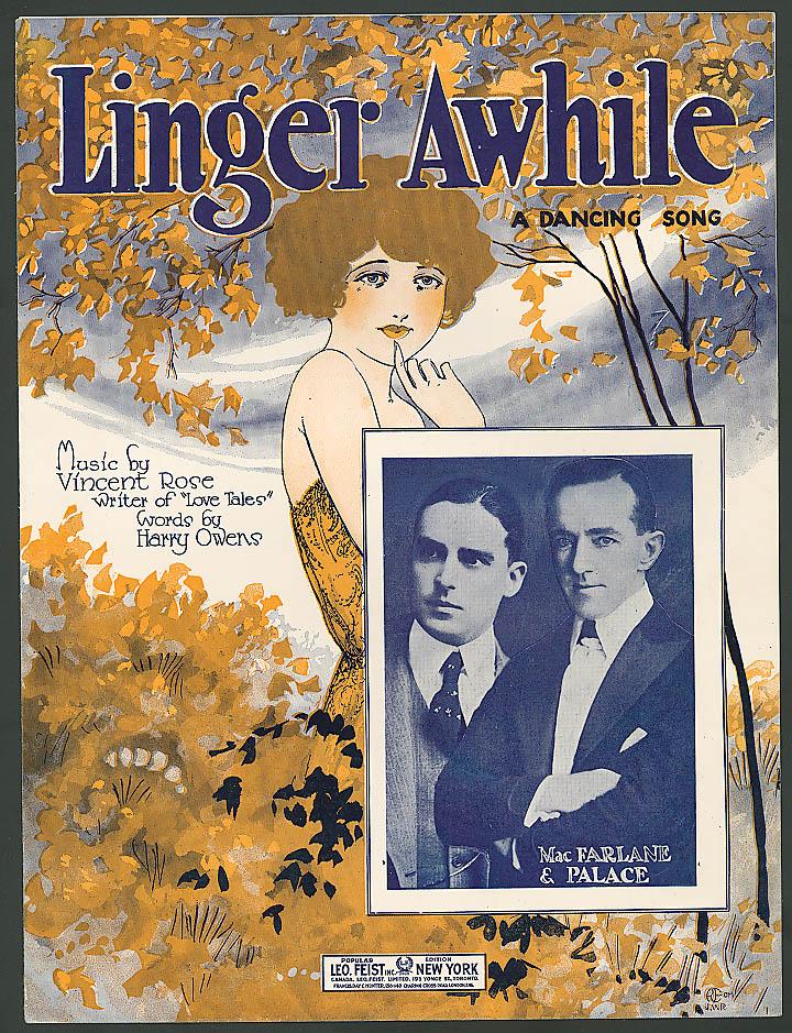 Linger Awhile pretty girl sheet music 1923