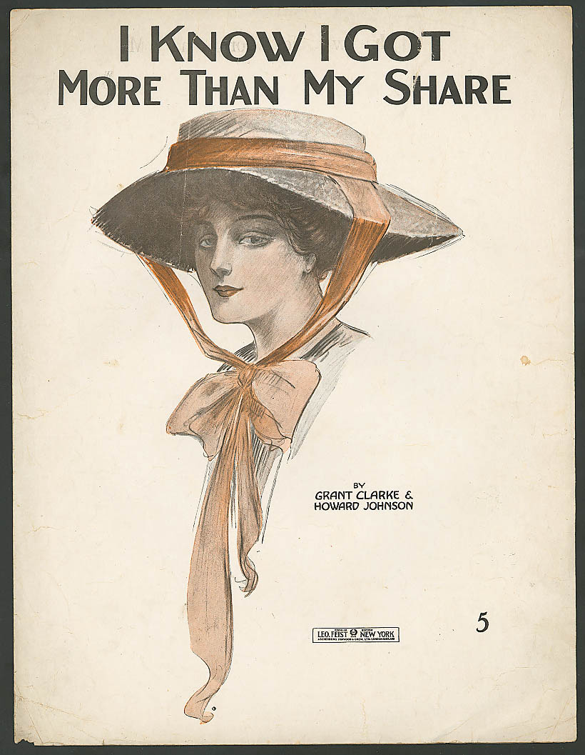 I Know I Got More Than My Share pretty girl music 1916