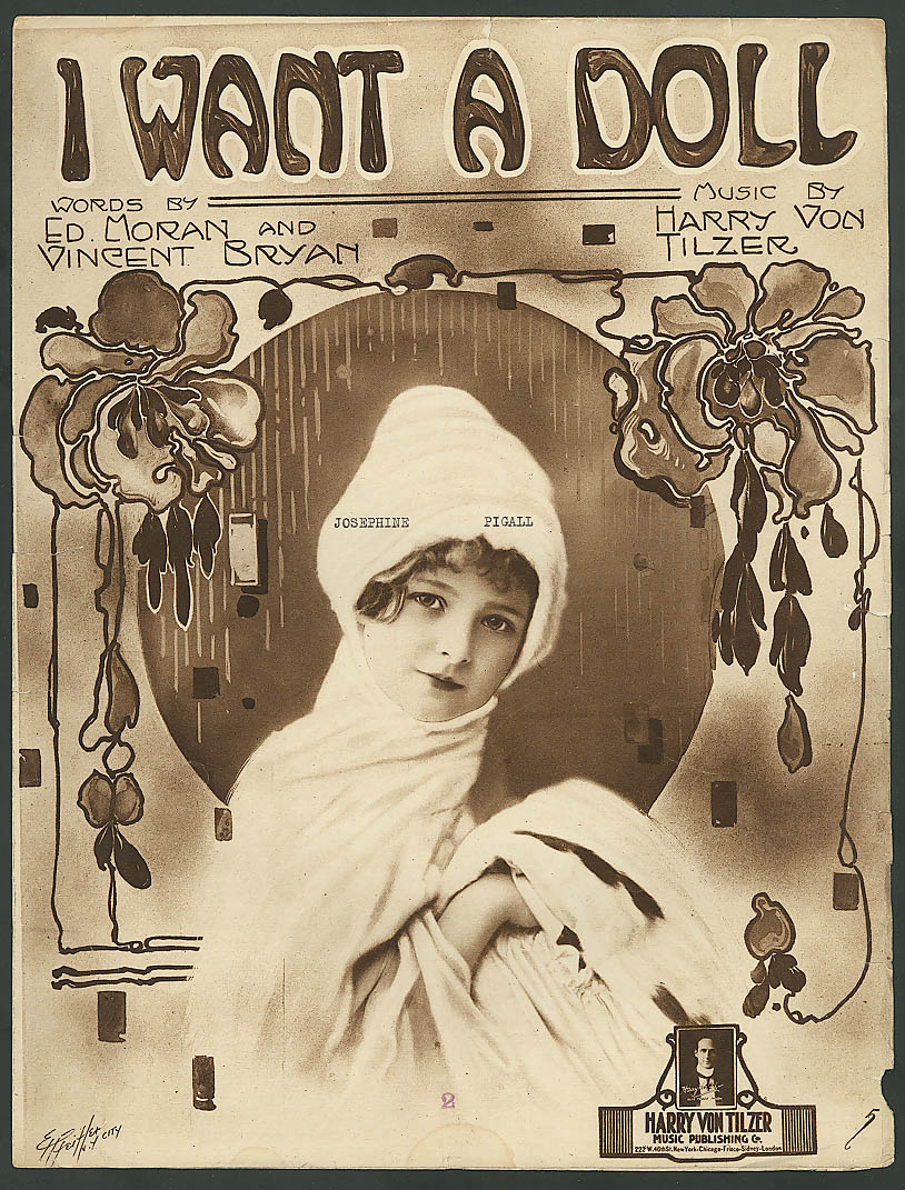 Image for I Want a Doll pretty girl Pfeiffer sheet music 1918