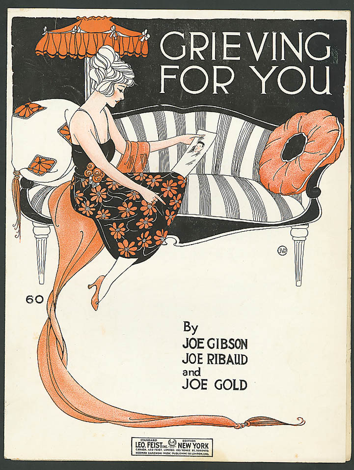 Grieving for You pretty girl sheet music 1920