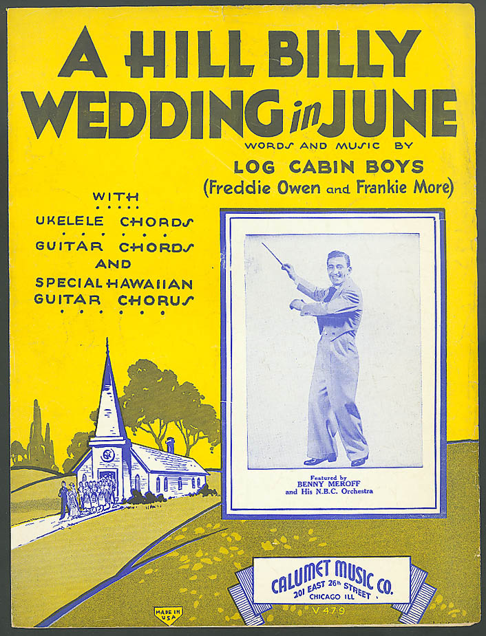 Hill Billy Wedding in June sheet music Benny Meroff 1933