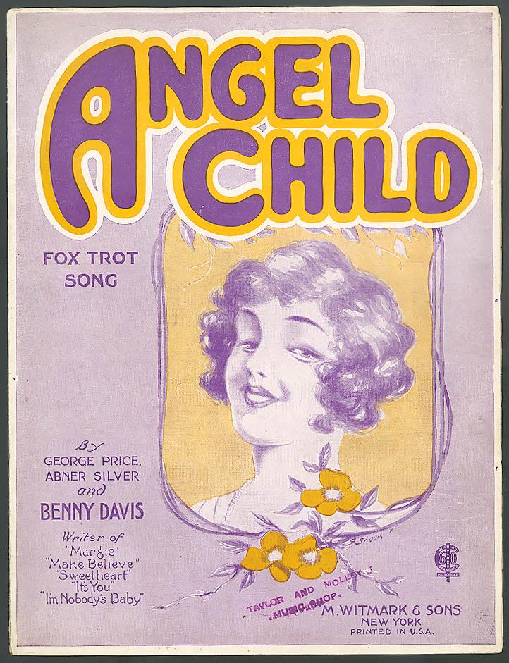 Angel Child pretty girl sheet music Benny Davis 1922