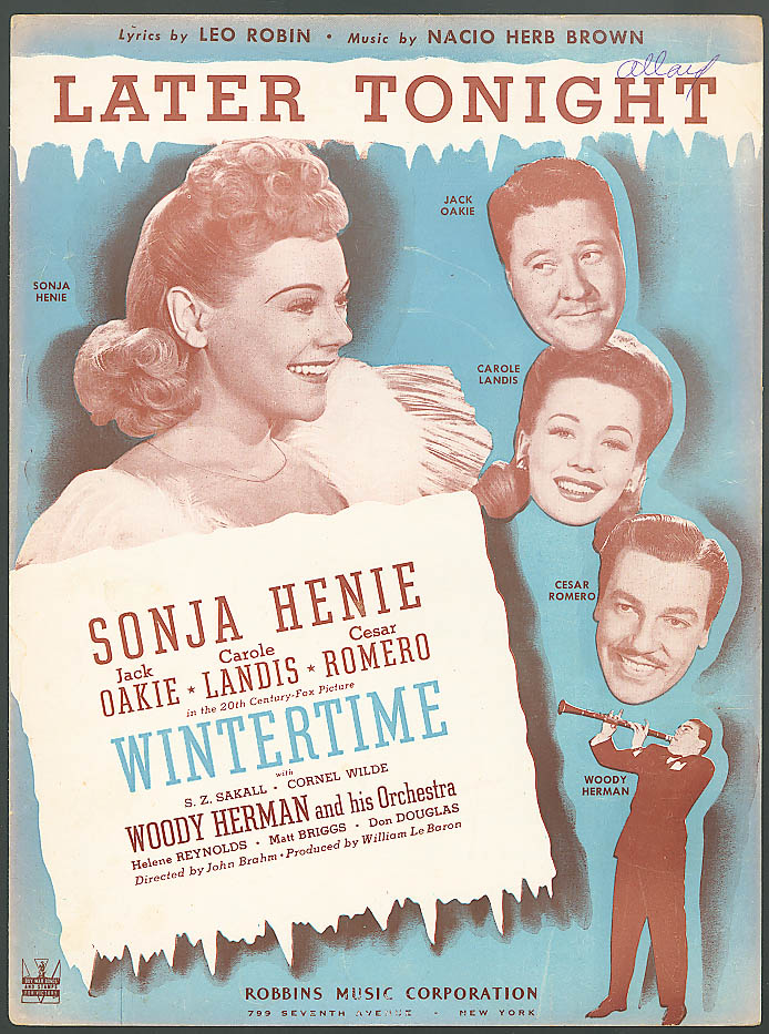 Later Tonight movie sheet music Sonja Henie 1943