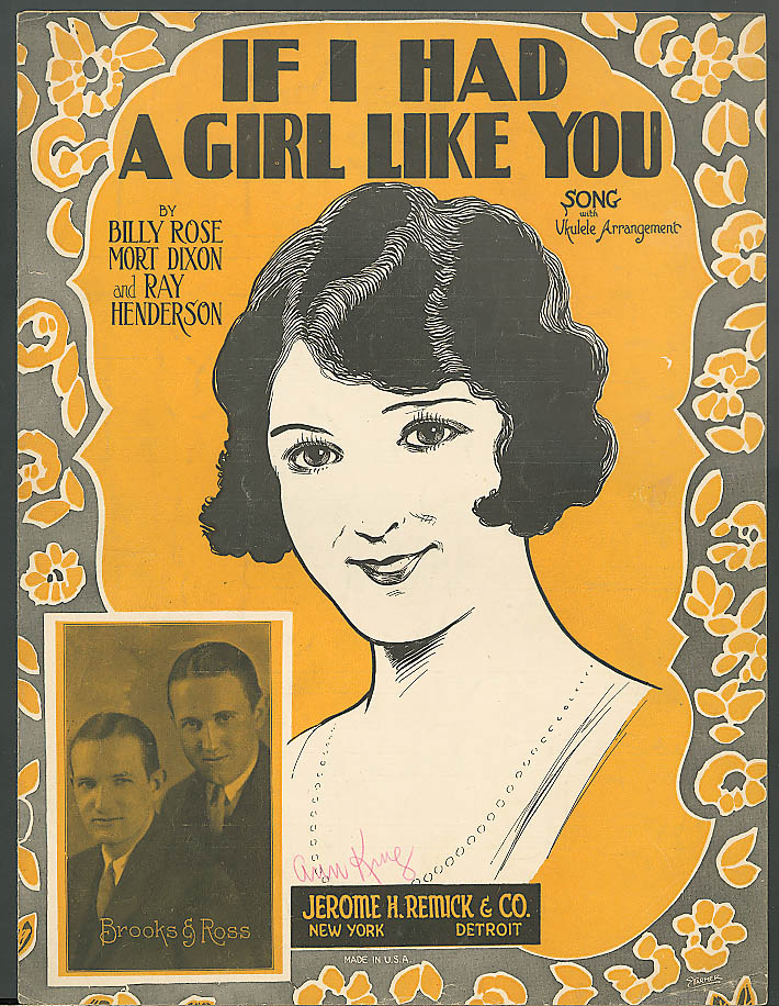 If I Had a Girl Like You pretty girl sheet music 1925 Brooks & Ross