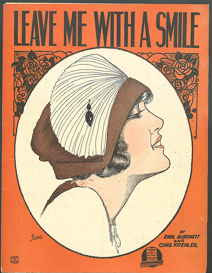 Leave Me With a Smile pretty girl sheet music 1921