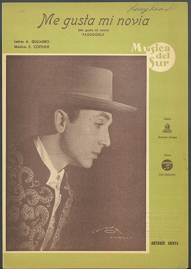 Me Gusta Me Novia sheet music Antonio Amaya Spain 1955