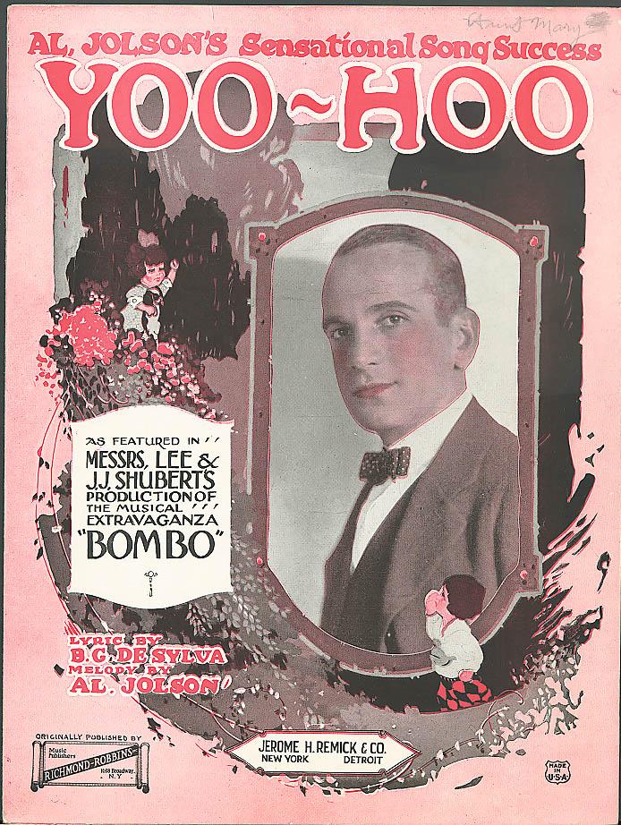 Yoo-Hoo sheet music Al Jolson in Bombo 1921