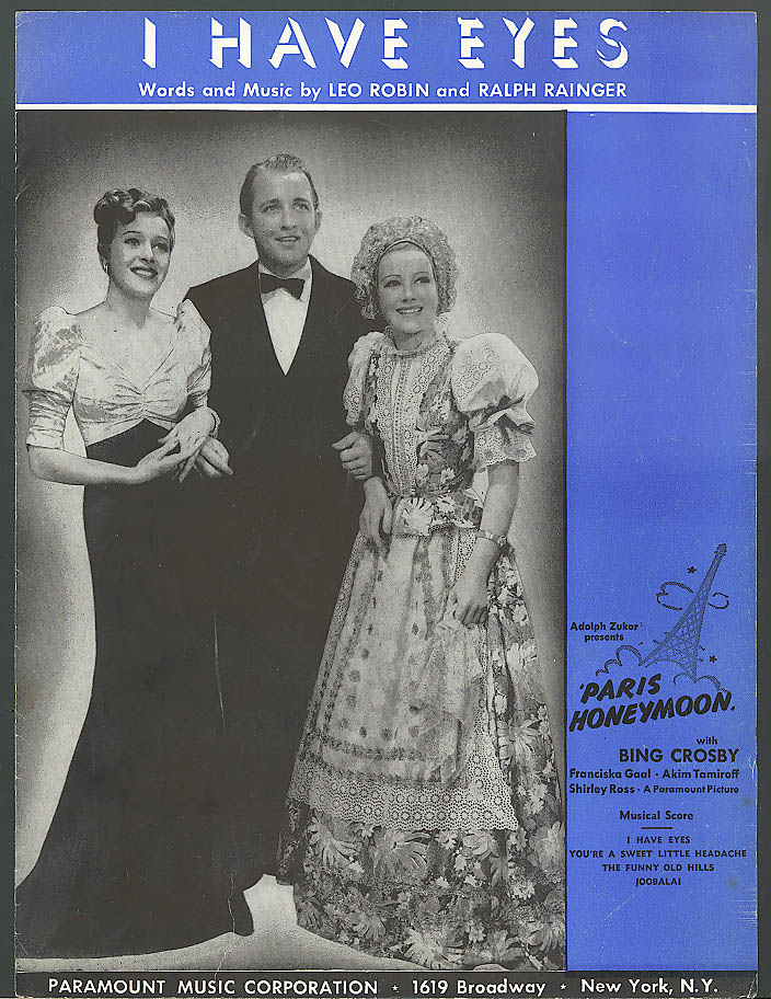 I Have Eyes movie sheet music Bing Crosby 1938