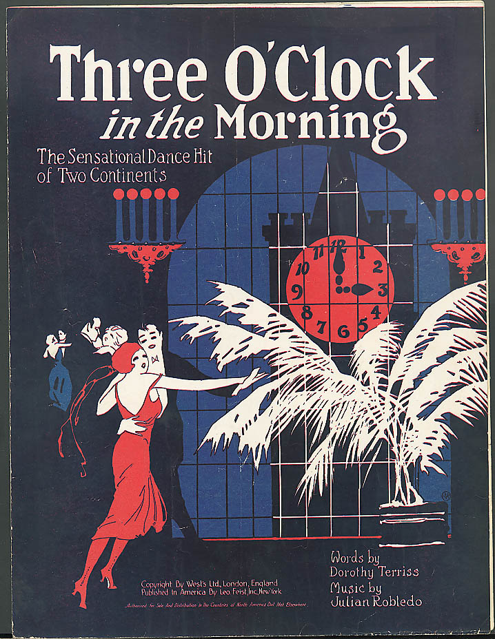Image for Three O'Clock in the Morning Sensational Dance Hit sheet music 1922