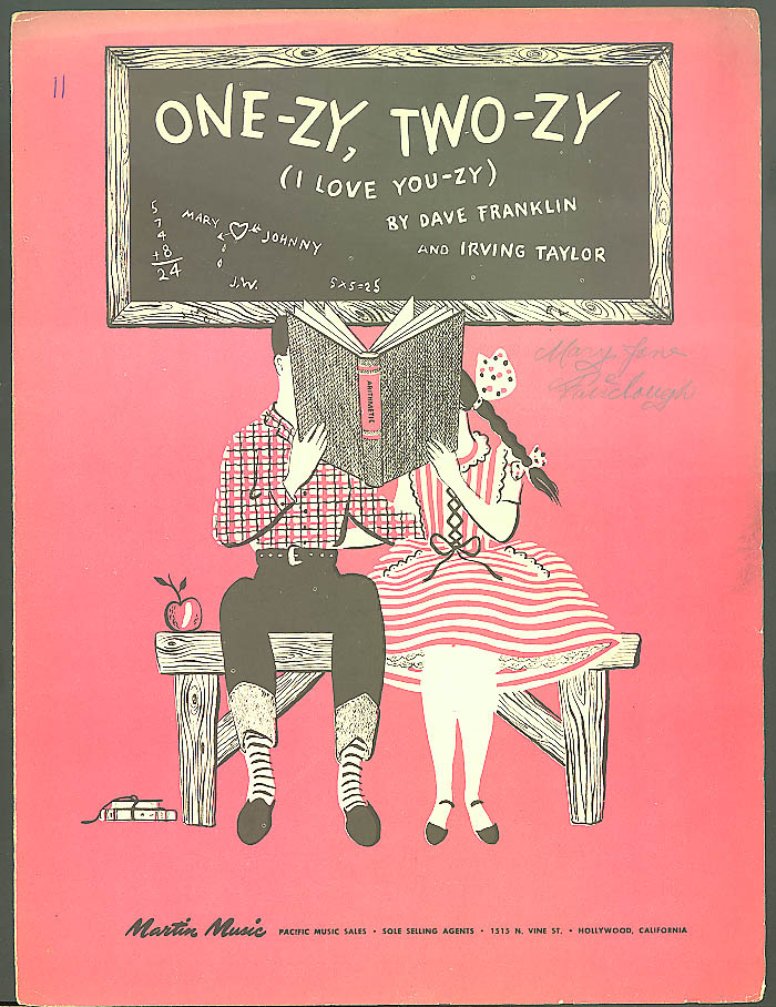 One-zy Two-zy I Love You-zy sheet music Hollywood 1946