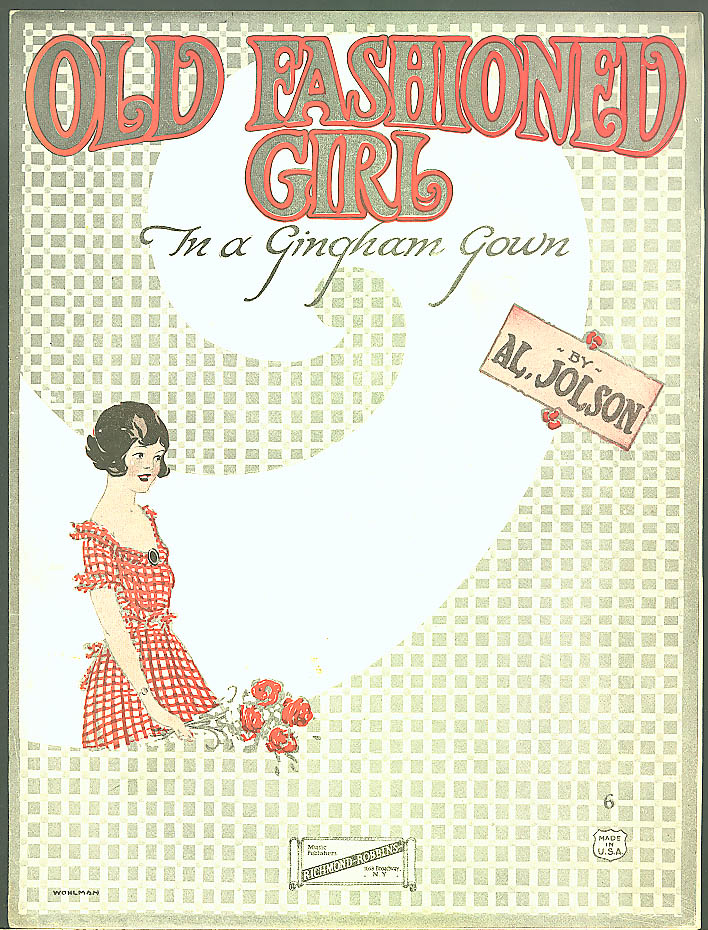 Old Fashioned Girl Gingham Gown sheet music Jolson 1922