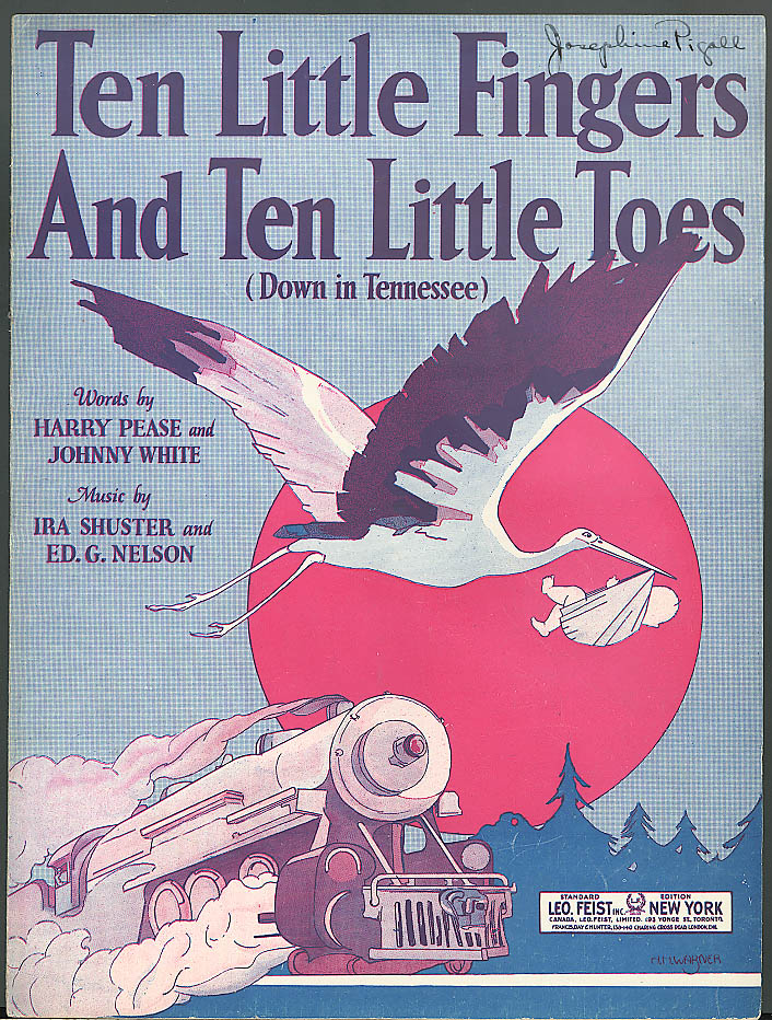 10 Little Fingers 10 Little Toes music 1921 train baby