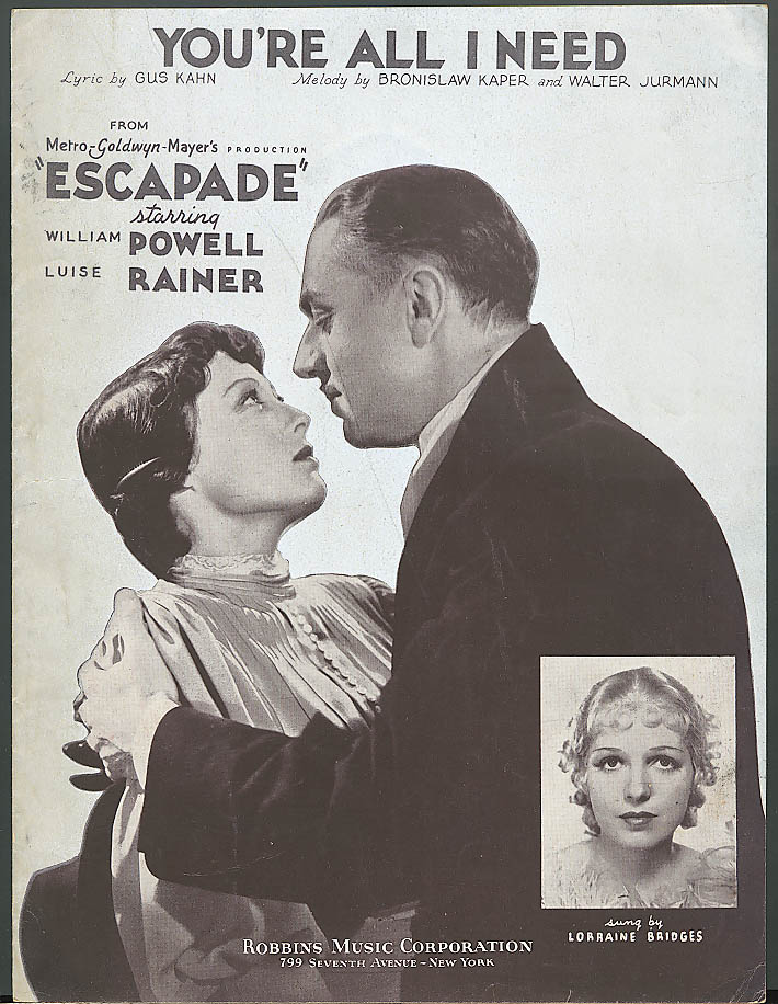 You're All I Need movie sheet music Escapade 1935