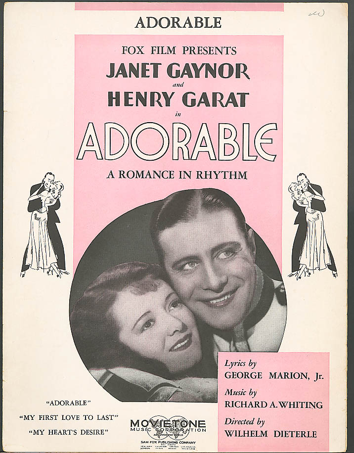 Adorable movie sheet music Janet Gaynor 1933