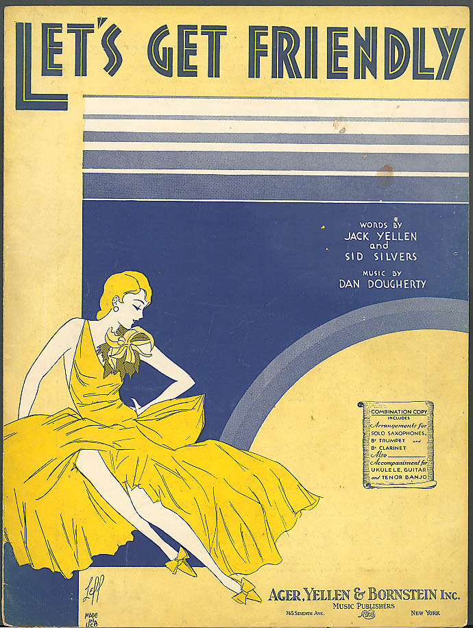 Let's Get Friendly pretty girl sheet music 1931