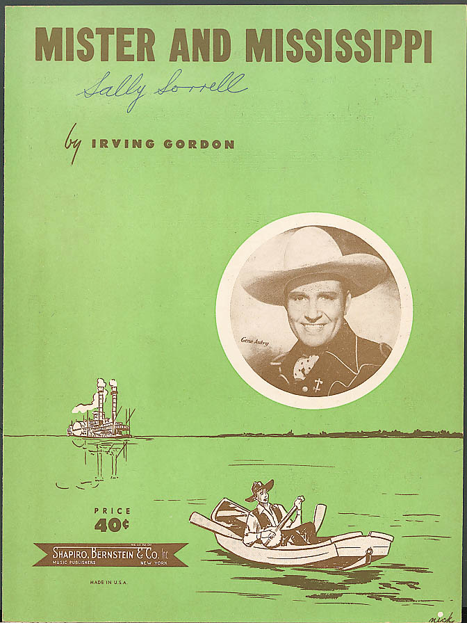 Mister & Mississippi sheet music Gene Autry 1951