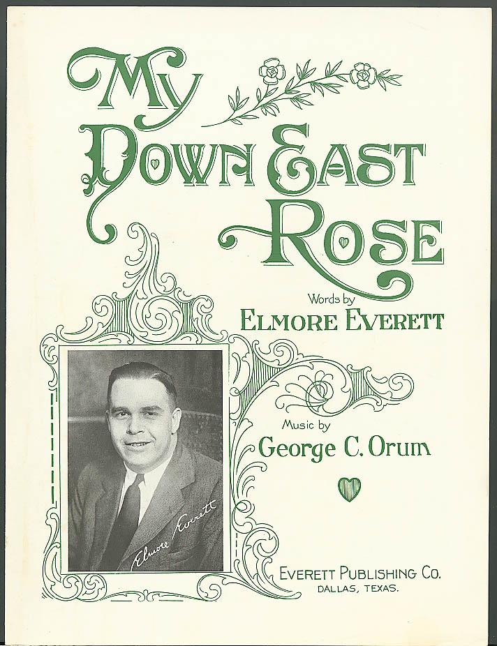 My Down East Rose sheet music Orum Everett Dallas 1927