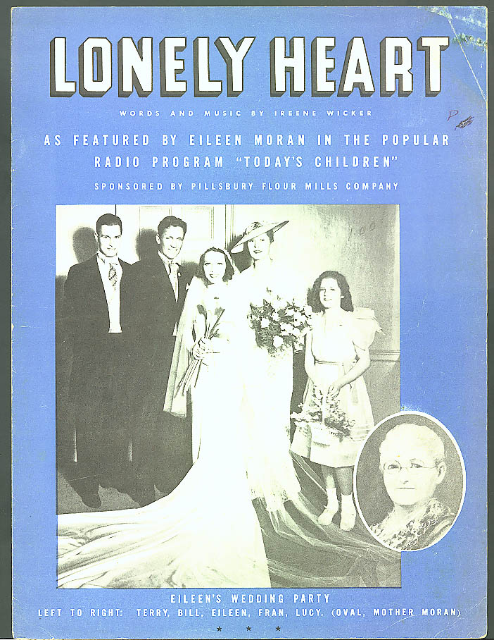 Lonely Heart radio sheet music Today's Children 1936 Pillsbury