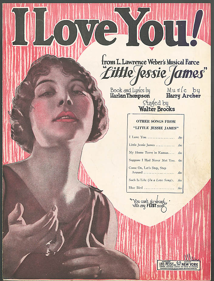 I Love You! pretty girl sheet music Little Jessie James 1923