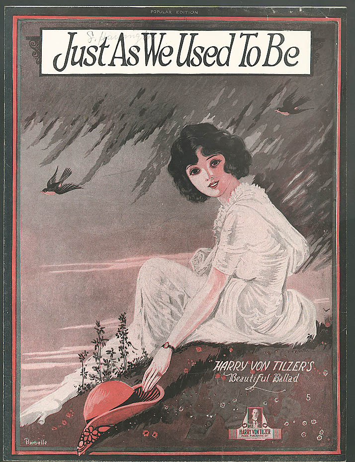 Just As We Used to Be pretty girl sheet music 1920
