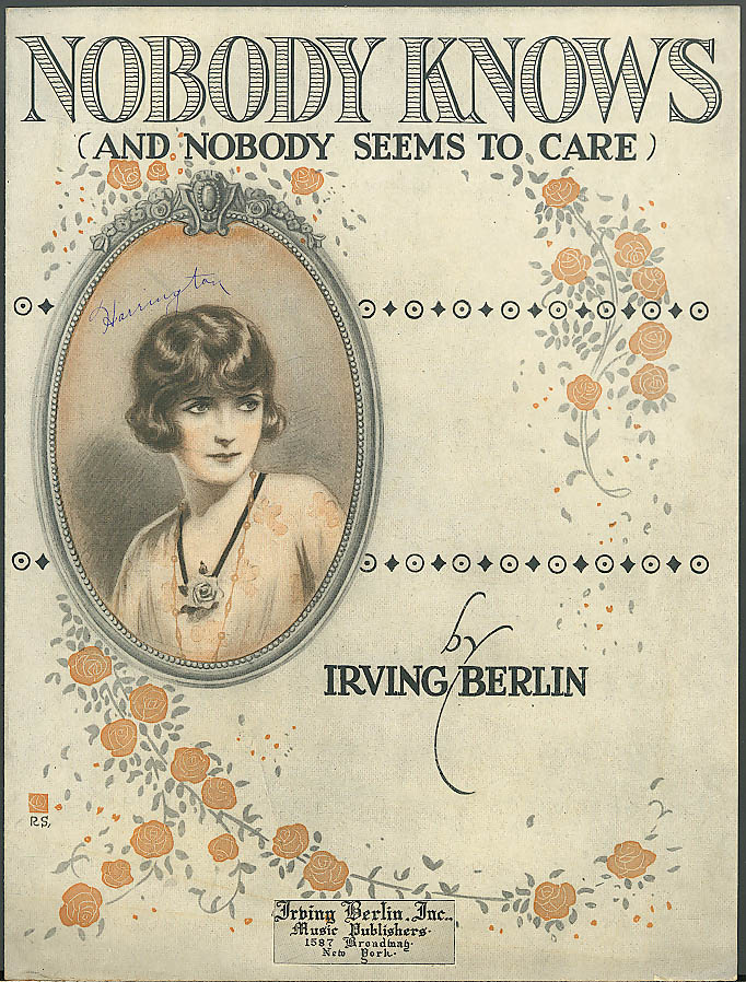 Nobody Knows sheet music by Irving Berlin 1919