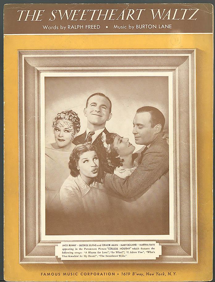 Sweetheart Waltz movie sheet music Burns & Allen 1936