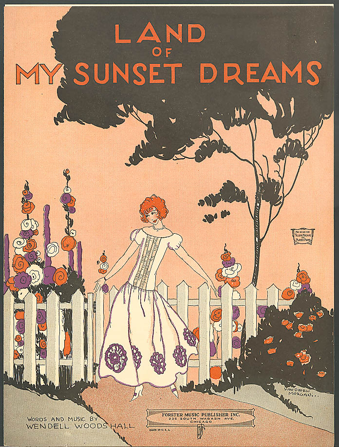 Land of My Sunset Dreams pretty girl sheet music 1924