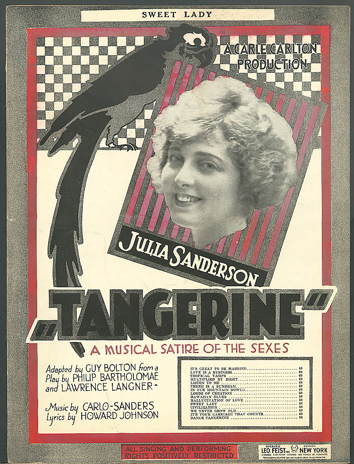 Sweet Lady sheet music Julia Sanderson Tangerine 1921