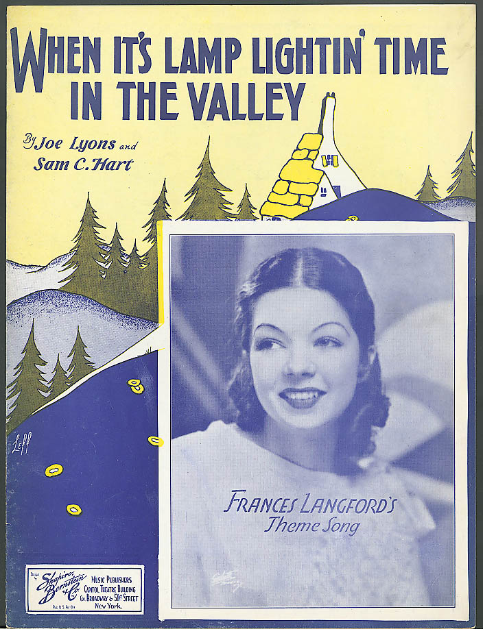 When It's Lamp Lightin' Time in the Valley sheet music 1933