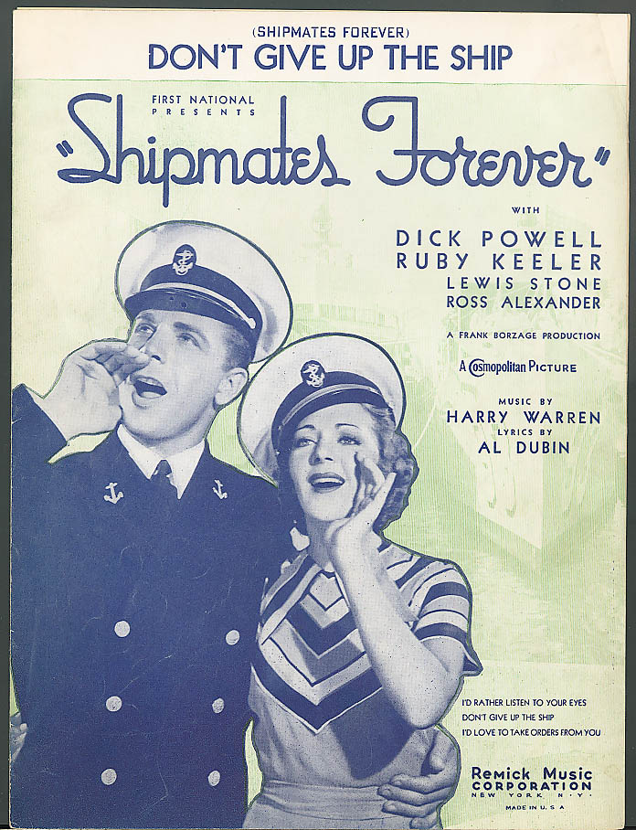 Don't Give Up the Ship movie sheet music 1935
