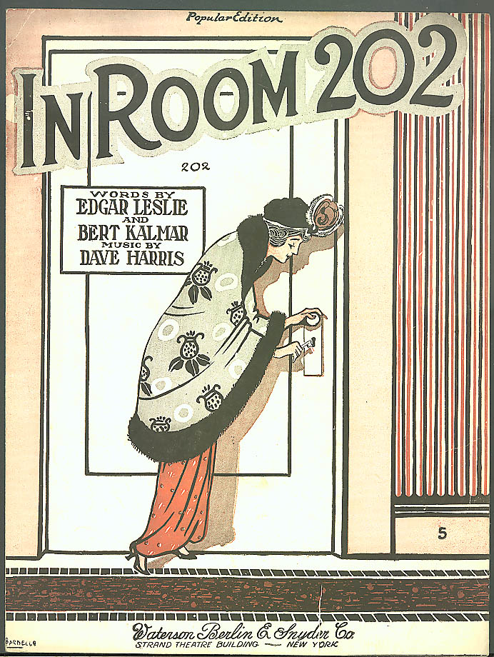In Room 202 sheet music Bert Kalmar 1919