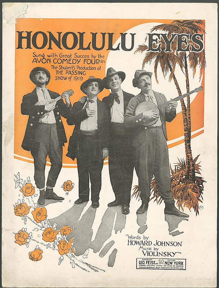 Image for Honolulu Eyes sheet music Avon Comedy Four 1921