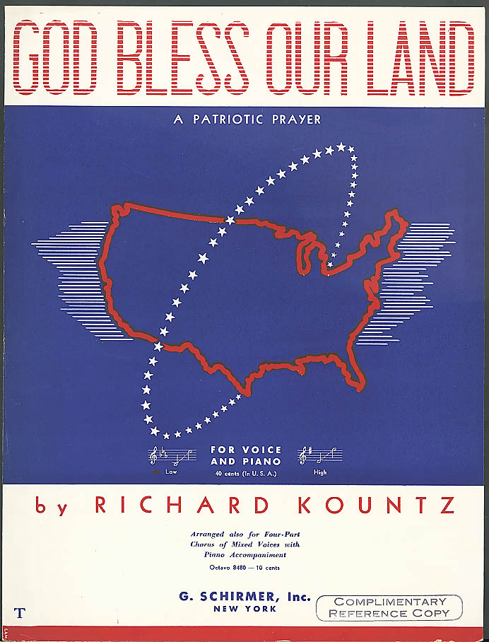 God Bless This Land patriotic sheet music Kountz 1940