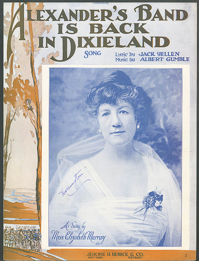 Alexander's Band is Back in Dixieland sheet music 1919