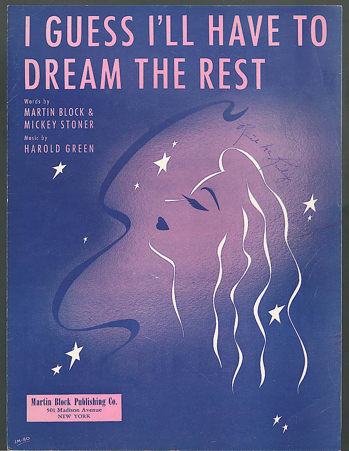 I Guess I'll Have to Dream the Rest sheet music 1941