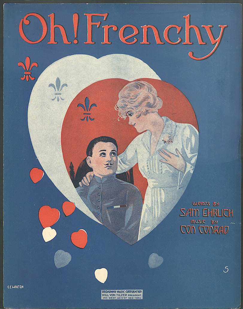Oh! Frenchy pretty girl sheet music World War I 1918