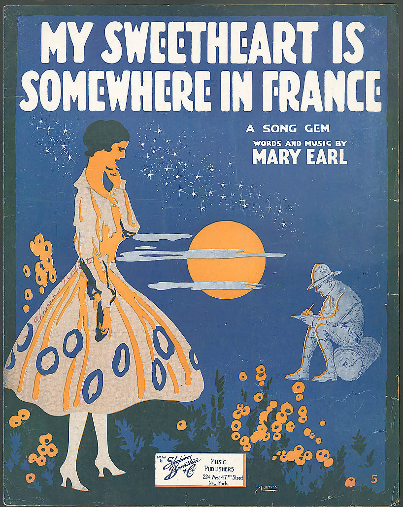My Sweetheart is Somewhere in France sheet music 1917