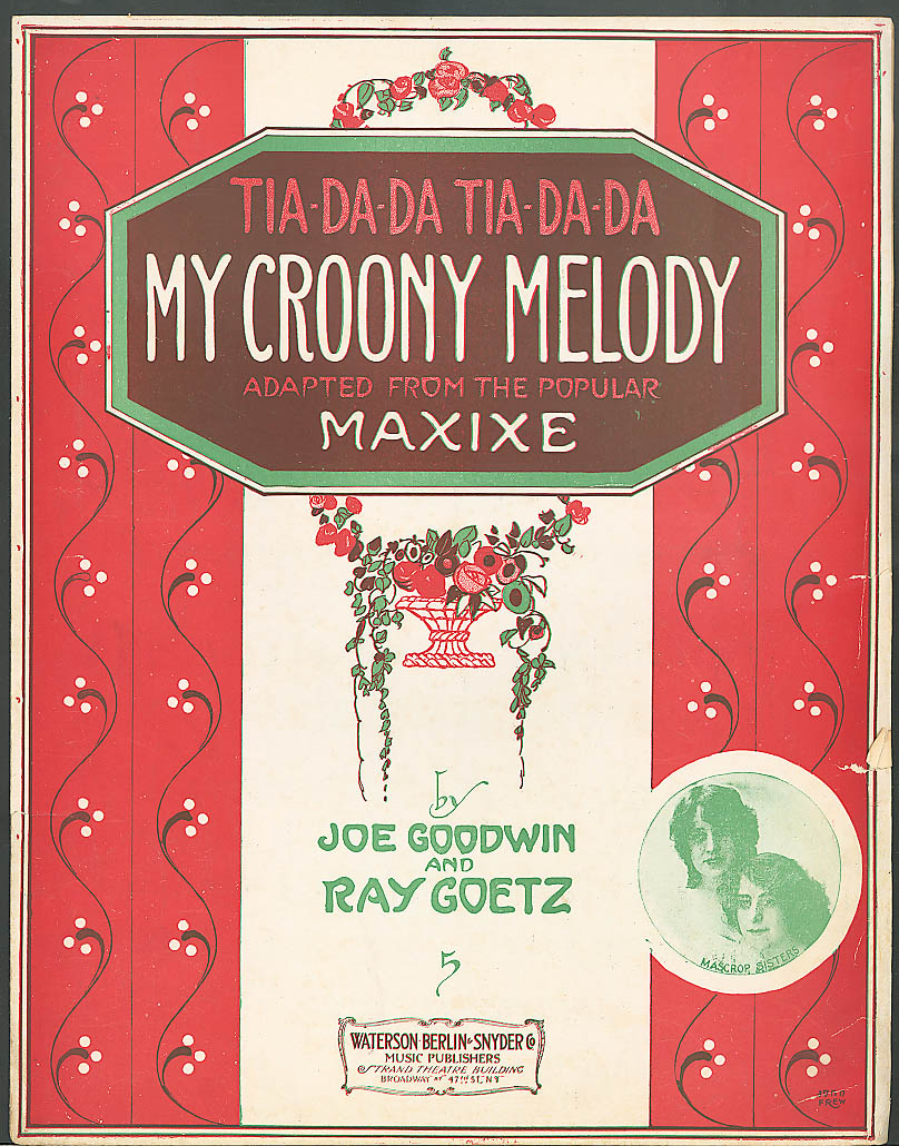 My Croony Melody sheet music Goodwin & Goetz 1914