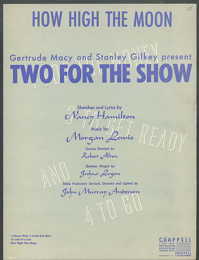 How High the Moon sheet music Two for the Show 1940