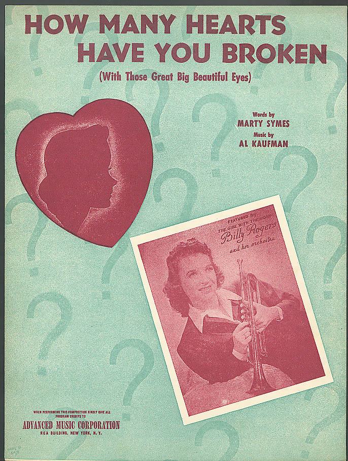 How Many Hearts Broken 1953 sheet music Billy Rogers
