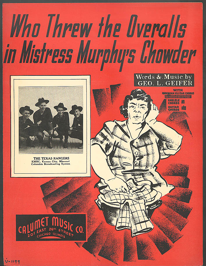 Overalls in Chowder sheet music 1937 Texas Rangers CBS