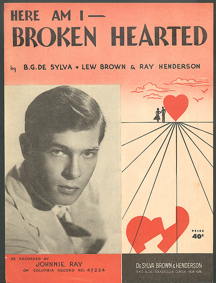 Here Am I Broken Hearted sheet music 1927 Johnnie Ray