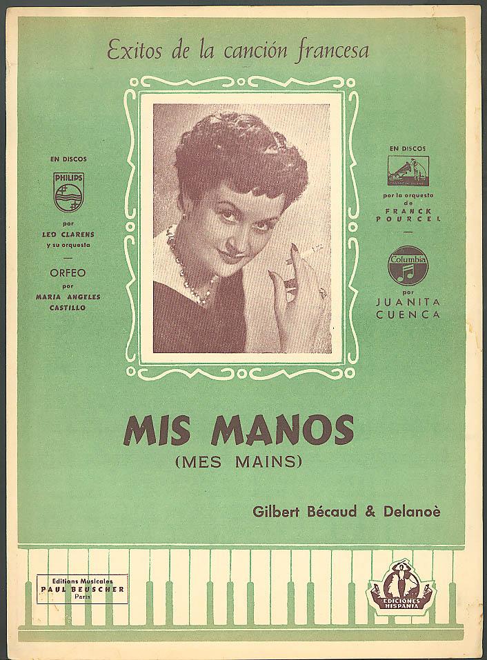 Mis Manos Mes Mains sheet music 1954 Madrid