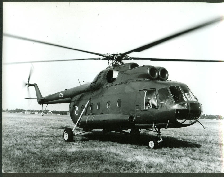 Russian Mil Mi-8 Helicopter 523 on grass field photo 1972