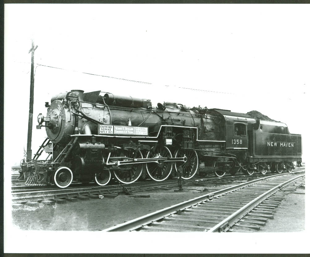 New York New Haven & Hartford RR 4-6-2 Steam Locomotive #1358 retired photo 1934